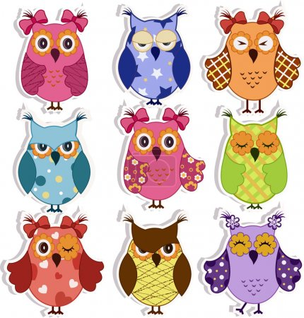 Illustration for Set of 9 cartoon owls with various emotions - Royalty Free Image