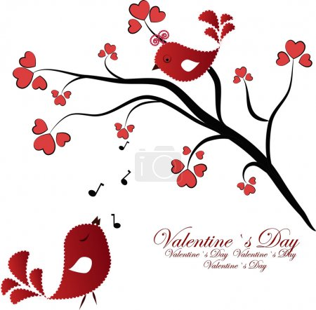 Enamoured birdies on a branch with hearts