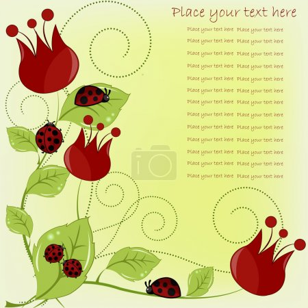 Beautiful card with ladybugs and red flowers