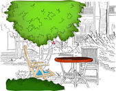 Cafe in the Garden Partially colored version