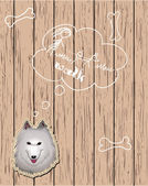 Wooden card with dog dreaming about walks