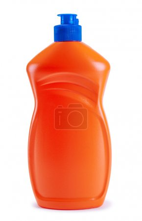 Photo for A bottle of orange with detergent isolated on a white background - Royalty Free Image