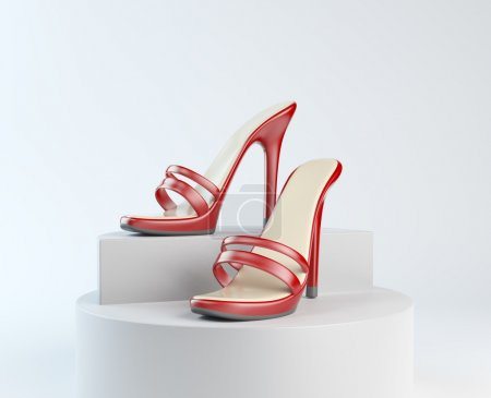 Woman shoes on display