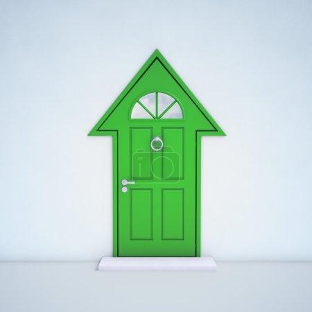 Photo pour Porte d'entrée en forme comme une maison - image libre de droit