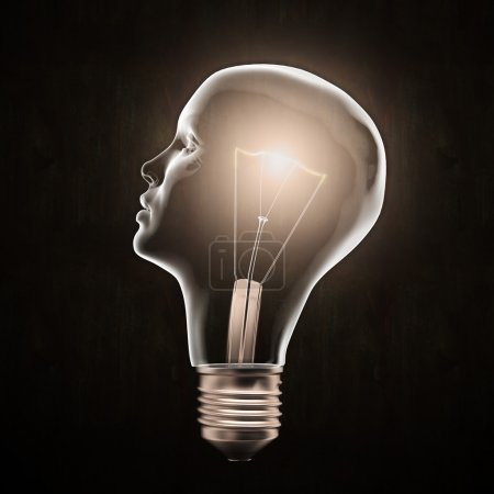 Photo for Head shaped light bulb - creativity concept - Royalty Free Image
