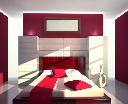 Red and white modern bedroom view