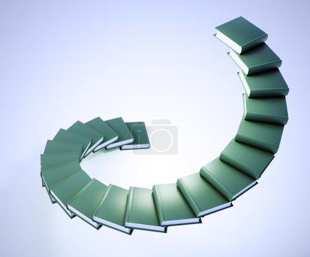Photo pour Escaliers en spirale fabriqués à partir de livres - progrès de l'éducation - image libre de droit