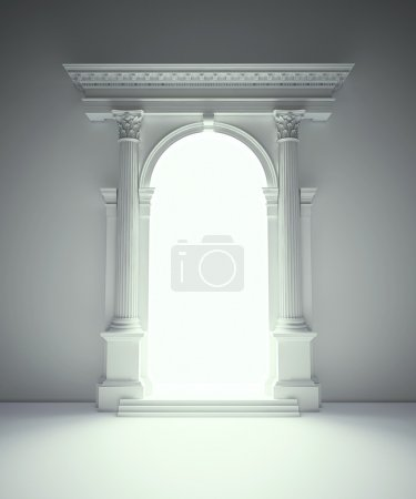 Classical architecture portal with corinthian columns, arcades and entablat
