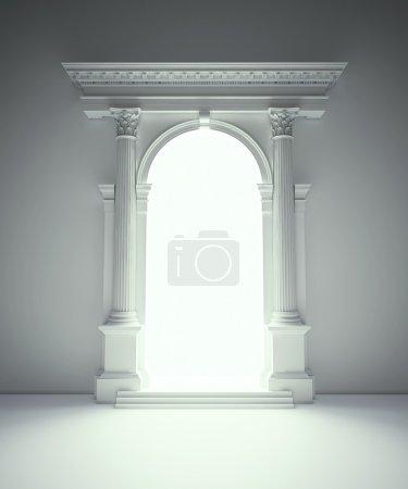 Photo pour Portail de l'architecture classique avec des colonnes corinthiennes, arcades et entablement - image libre de droit