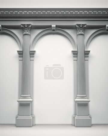 Photo for Classical architecture portal with corinthian columns, arcades and entablature - Royalty Free Image