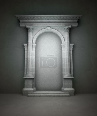 Classical portal with corinthian columns and an arcade
