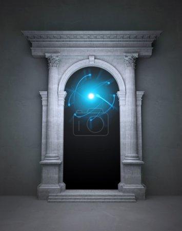 Photo pour Portail magique mystérieux avec des colonnes corinthiennes - image libre de droit