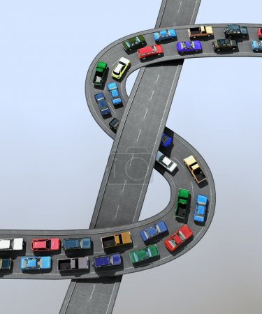 Photo for 3D illustration of a traffic jam - Royalty Free Image