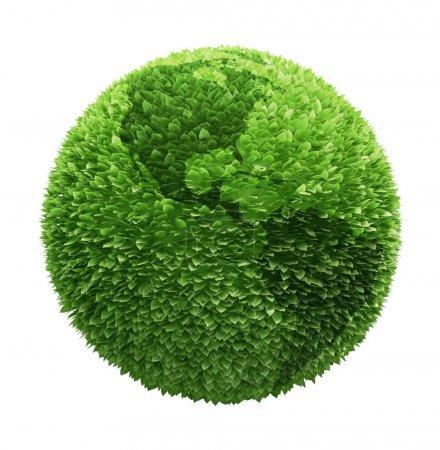 Foto de Globo de tierra cubierto con hojas con contornos de los continentes - Imagen libre de derechos