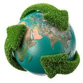 """Постер, картина, фотообои """"земной шар с зелеными стрелами, покрывающими землю"""""""