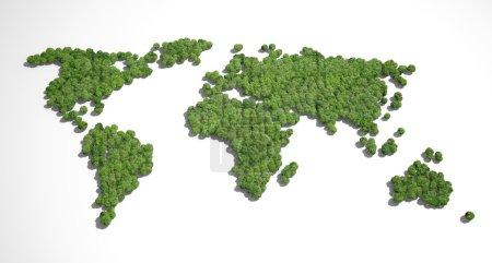 Photo pour Forêt en forme de carte du monde - image libre de droit