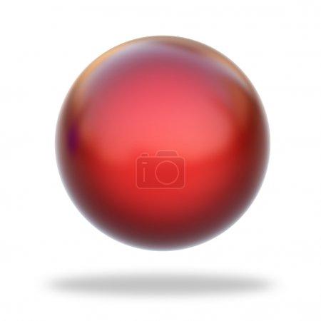 Foto de Renderizado 3D de una esfera metálica roja aislada sobre fondo blanco - Imagen libre de derechos