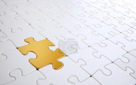 weiße Puzzle mit einem einzigen goldenen Teil