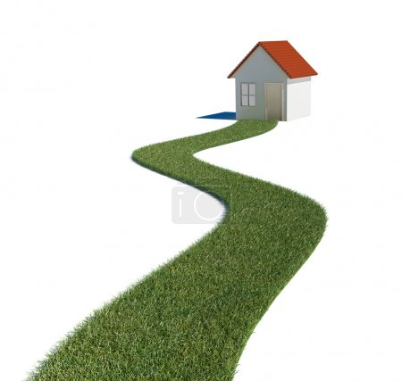 Grass path to a house