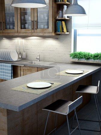 Modern kitchen interior view