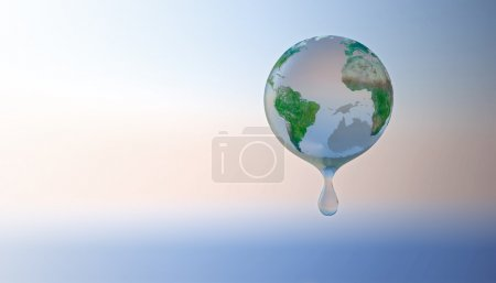 Photo for Drop of water surrounding the Earth - water conservation concept - Royalty Free Image