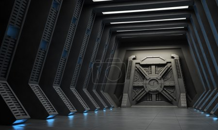 Science fiction interior - a hallway with reinforced gate.