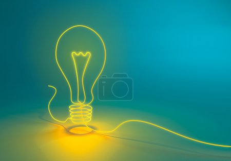 Photo for Electricity and lighting concept illustration - string/cord forming a bulb symbol - Royalty Free Image