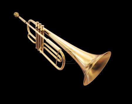 Foto de Trompeta de oro aislado sobre un fondo negro - Imagen libre de derechos