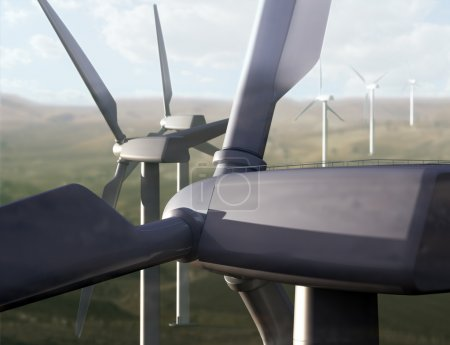Wind farm in a rural area. Renewable energy concep...