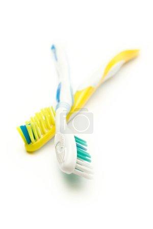 Photo pour Brosses à dents sur fond blanc - image libre de droit