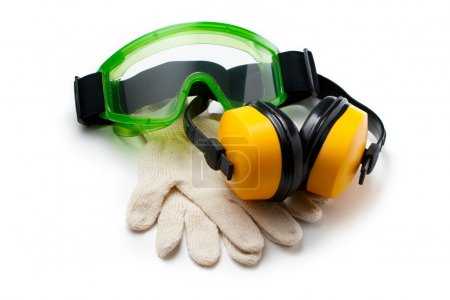 Green goggles with gloves and earphones