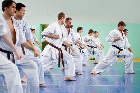 Photo pour EKATERINBURG, RUSSIE - 25 MARS : Maître karaté Igor Struihin donne une leçon à ses élèves dans le gymnase de l'école 125 - image libre de droit
