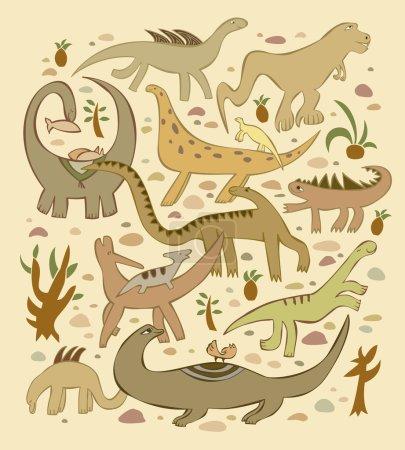 Illustration pour Le groupe de divers dinosaures dans le fond de sable et de pierres et de plantes . - image libre de droit