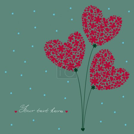Illustration for Greeting card, a bouquet of flowers in the heart-shaped, built of small flowers on a background with dots and place for text - Royalty Free Image