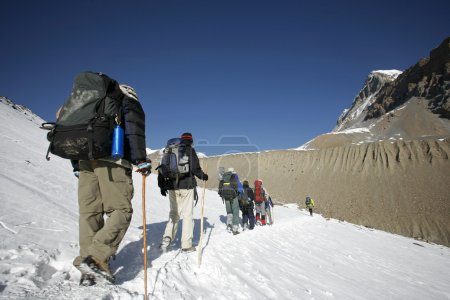 Mountaineers trekking to top of thorong-la, annapurna, nepal