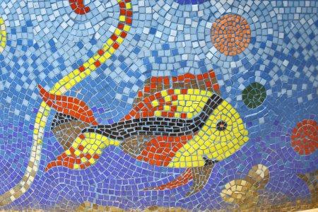 Photo for Fish mosaic art on fountain pond in dahab, sinai, egypt - Royalty Free Image