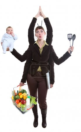 Photo pour Femme moderne, ayant à traiter des affaires et sa vie personnelle - image libre de droit