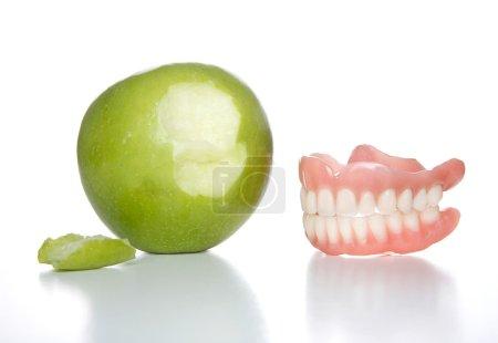 False teeth just took a bit out of an apple...