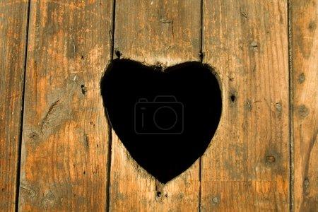 Photo pour Coeur en bois paysage - image libre de droit
