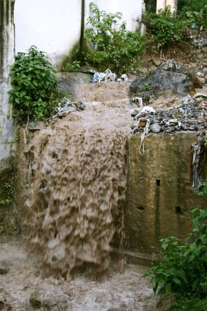 Sewage water flowing into drain
