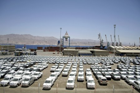 New cars lined up in the port of eilat, israel