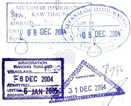 Visa passport stamp from Burma and Thailand