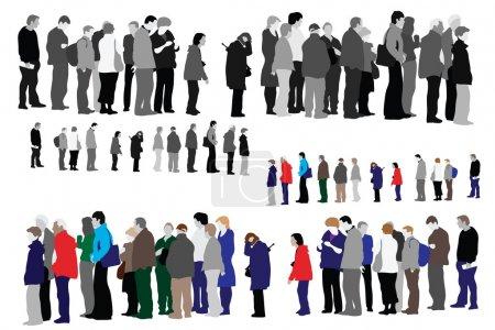 Illustration for Waiting in queue, two color versions - Royalty Free Image