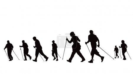 Illustration pour Groupe de marcheurs nordiques - image libre de droit
