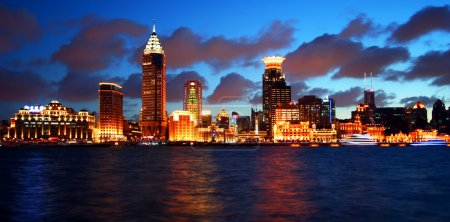A View of the Bund, Shanghai, China, at Twilight