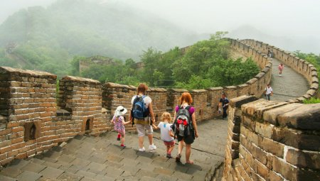 Two Women and Two Little Girls on the Great Wall of China