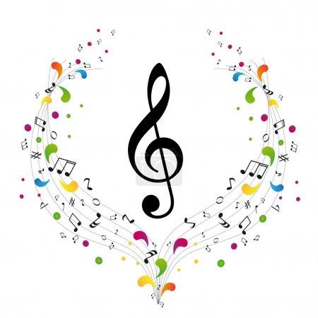 Photo pour Logo musique - clé de sol et notes - image libre de droit