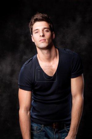 Handsome man posing in studio