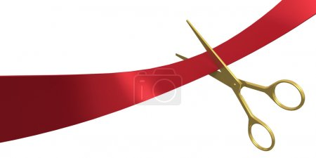 Photo for Scissors cut the ribbon, isolated on white - Royalty Free Image