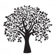 Black tree silhouette, isolated on white background